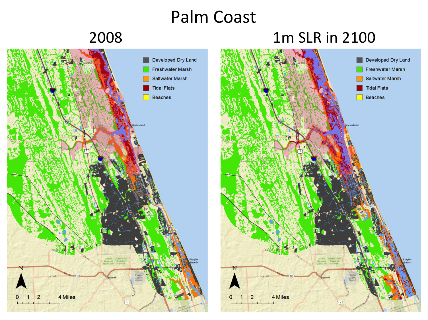Maps Planning For Sea Level Rise In The Matanzas Basin - Florida map elevation