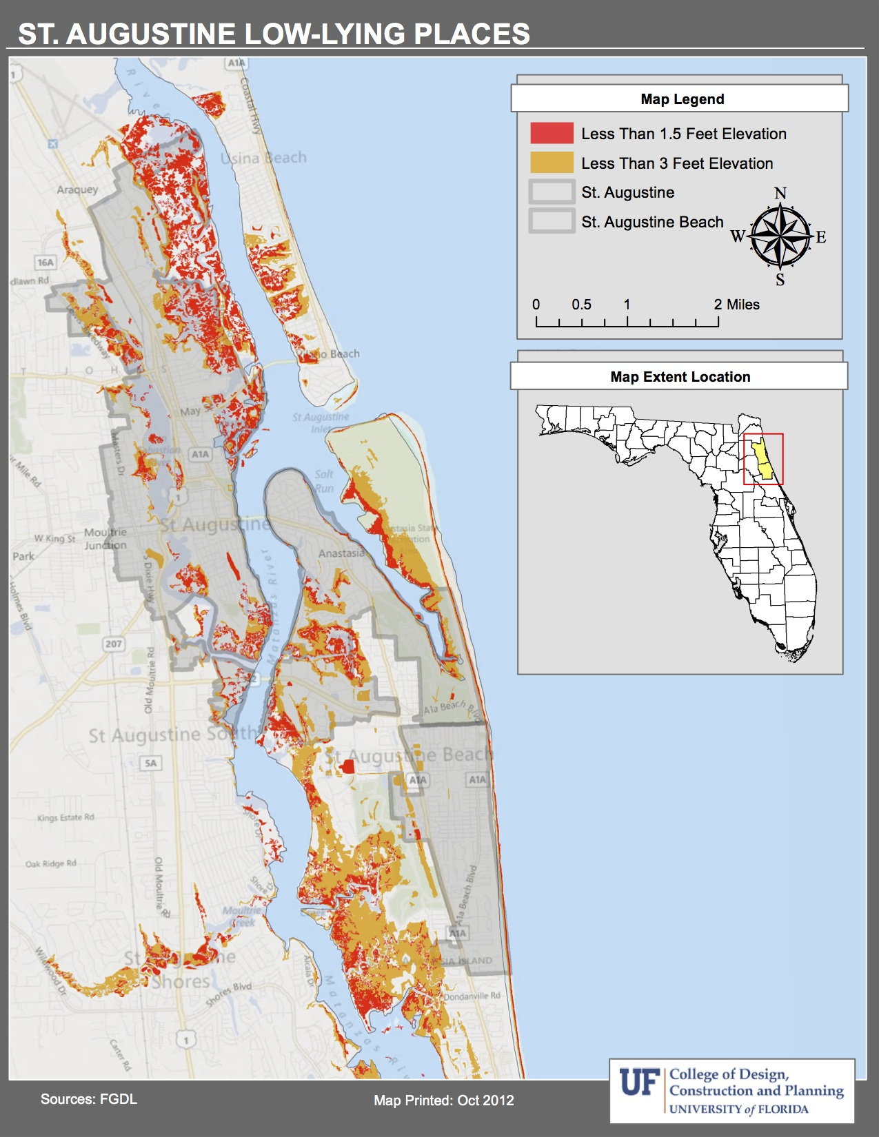 Maps Planning For Sea Level Rise In The Matanzas Basin - Florida elevation map